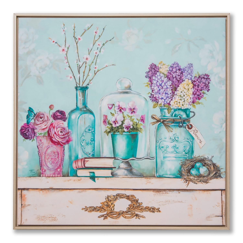 Картина в квадратній рамі | Квітка на столі
