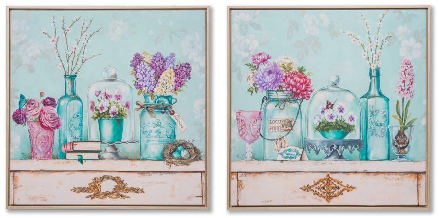 Картина в квадратной раме | Цветы на столе