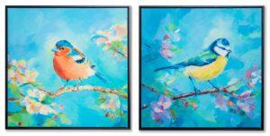 Картина в квадратній рамі | Пташка на синьому фоні