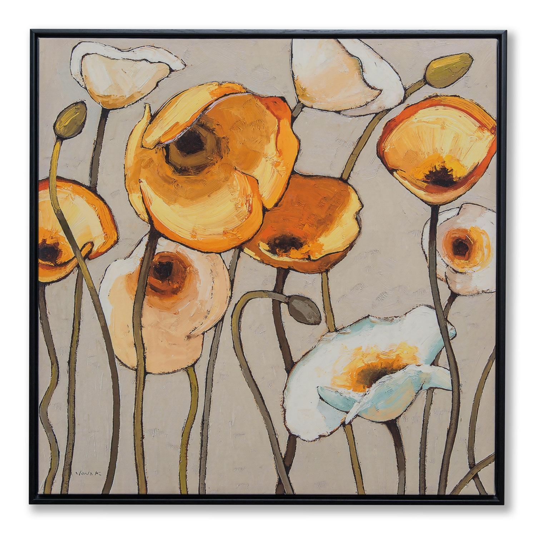Картина в квадратной раме   Желтые и белые цветы