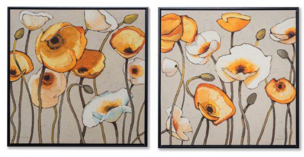 Картина в квадратной раме | Желтые и белые цветы