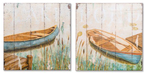 Картина в прямоугольной раме | Лодка на озере