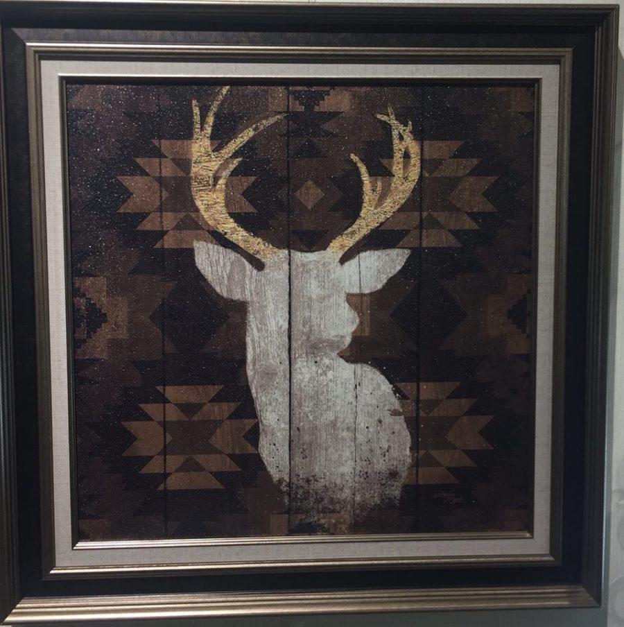 Картина в квадратной раме | Силуэт оленя