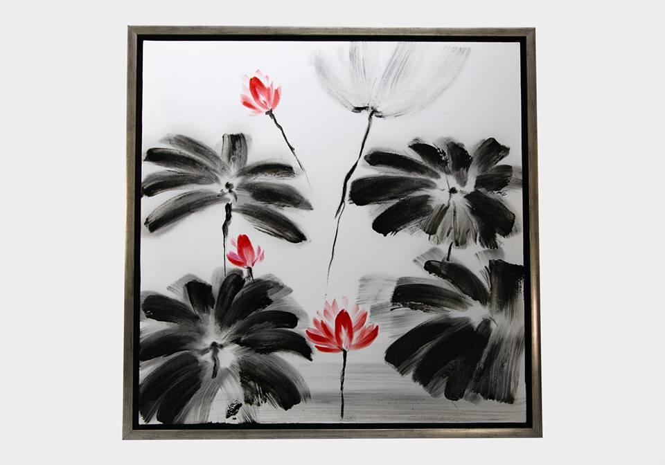 Картина в квадратной раме | Цветы красное и черное
