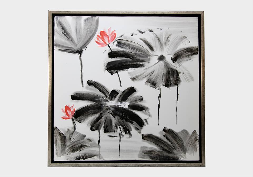 Картина в квадратной раме   Цветы красное и черное