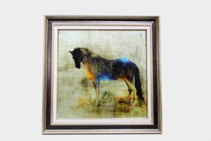 Картина в квадратной раме | Черный конь
