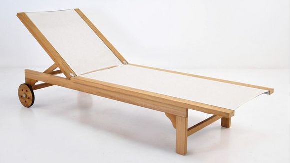 Tango Teak and Textilene Sun Lounger White