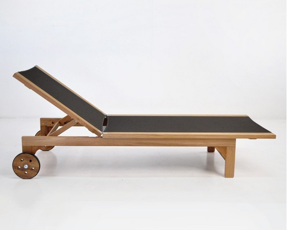 Tango Teak and Textilene Sun Lounger Black