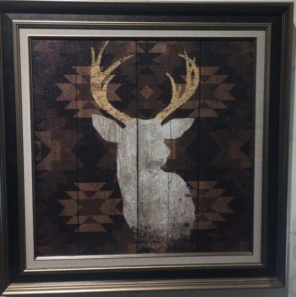 Картина в квадратной раме   Силуэт оленя