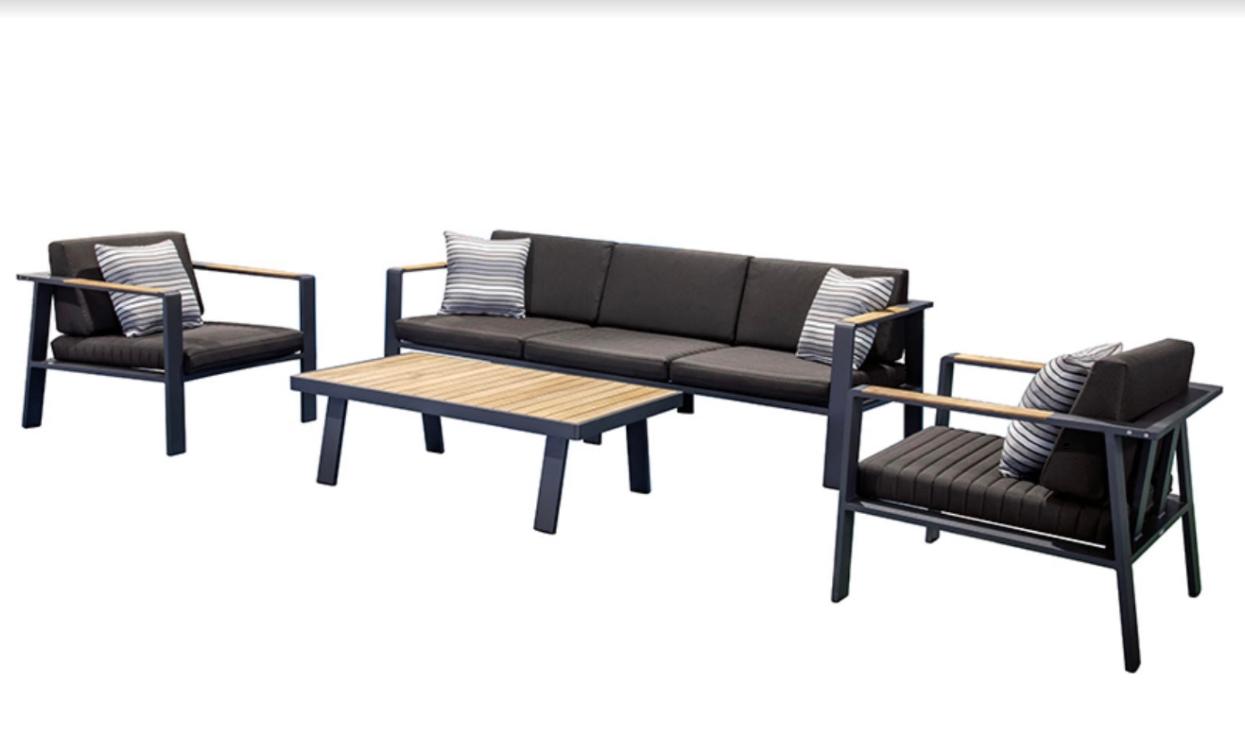 Комплект для отдыха Kaja Nofi Black с 3-м диваном (680130)